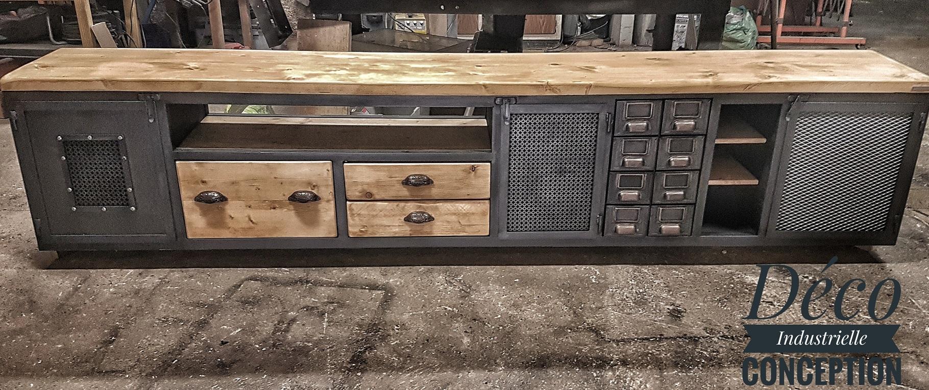 Meuble TV industriel 300cm