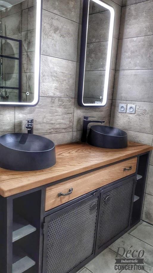 Meuble salle de bain en châtaignier