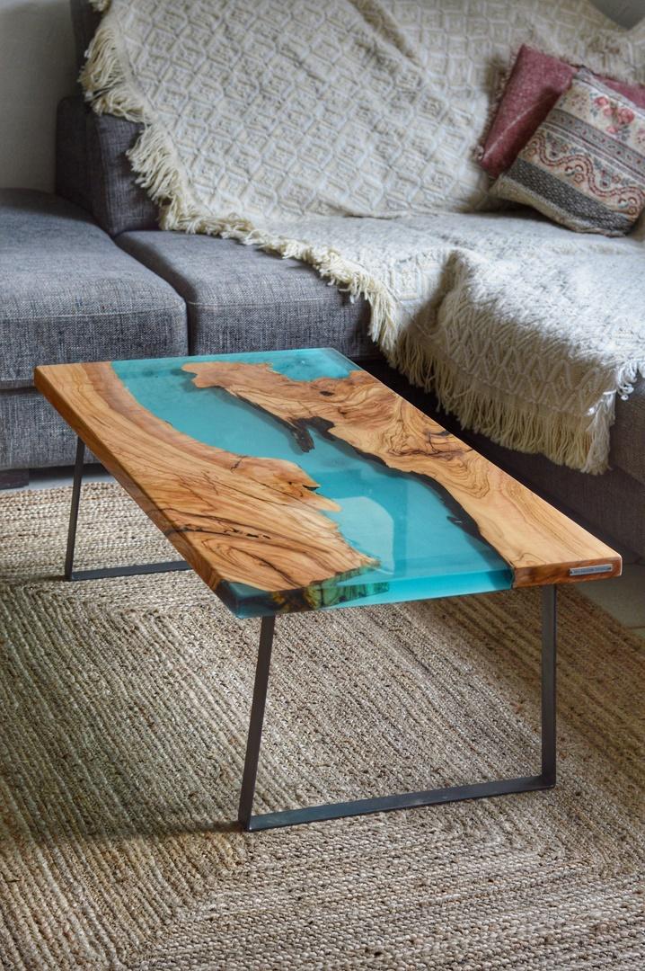 Table basse époxy bleue turquoise